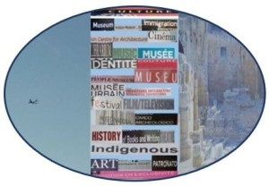 Oval image depicting an airplane, a collage of words associated with 'culture' and roman ruins (domains translated by CorbettAMtranslations)
